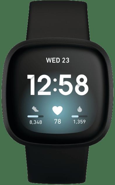 Beste smartwatch Fitbit Versa 3 zwart transparant Smartch